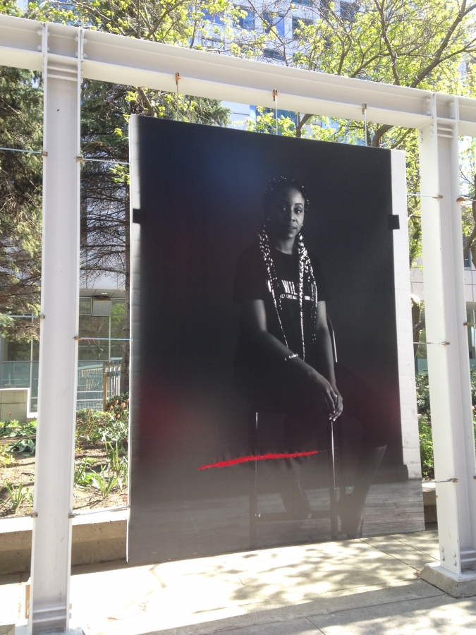 Repaired slashed photo of a black woman
