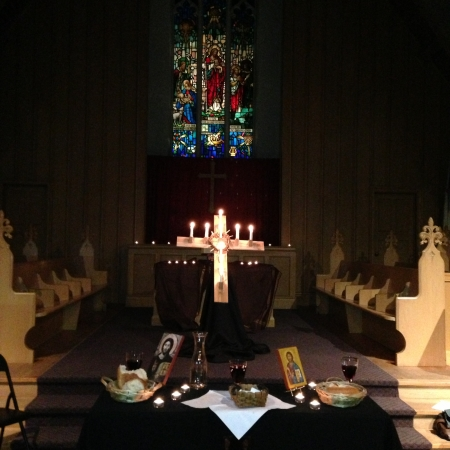 Cross, candles and altar