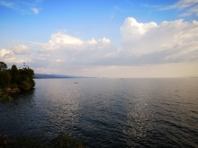 Distant fishermen on Lake Kivu