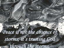 "Ink drawing by Carole of a woman walking on stormy water; ""Peace is not the absence of storms; it's trusting God through the storms."""